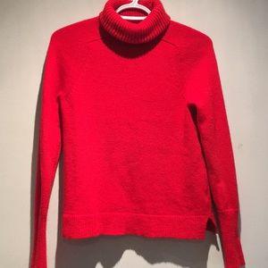 J Crew Red Wool Blend Turtleneck Sweater Sz XS